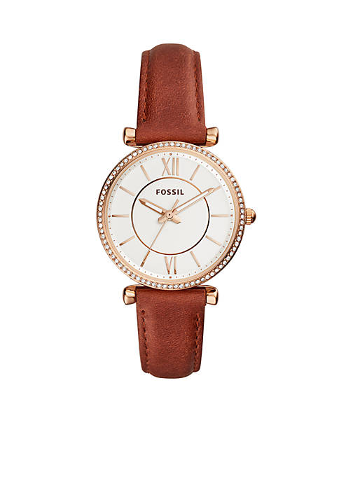 Fossil® Gold-Tone Stainless Steel Carlie Three-Hand Terracotta