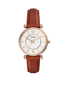 Gold-Tone Stainless Steel Carlie Three-Hand Terracotta Leather Watch