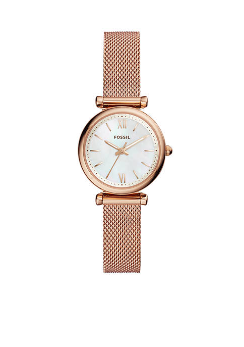 Fossil® Carlie Rose Gold-Tone Stainless Steel Three-Hand Bracelet