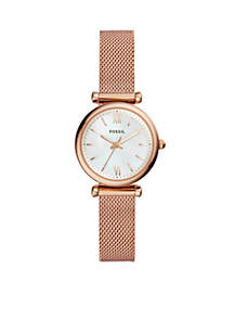 Carlie Rose Gold-Tone Stainless Steel Three-Hand Bracelet Watch