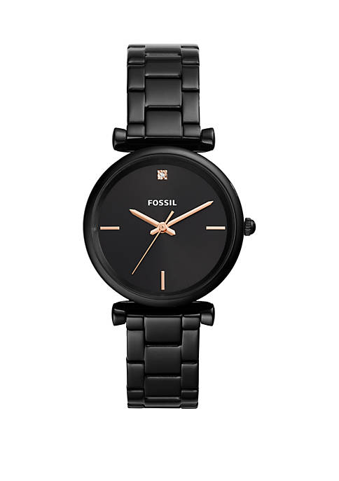 Fossil® Carlie Carbon Series Three-Hand Black Stainless Steel