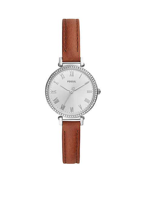 Fossil® Womens Stainless Steel Kinsey Three-Hand Brown Leather