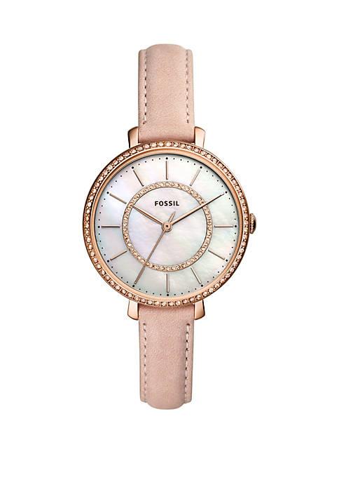 Jocelyn Three-Hand Blush Leather Watch