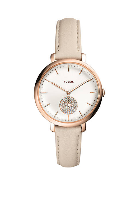 Fossil® Jacqueline Multifunction Winter White Leather Watch