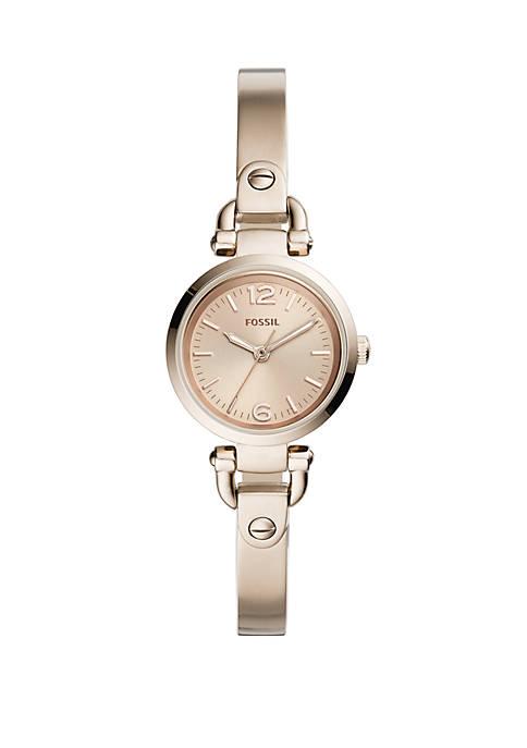 Georgia Mini Three-Hand Pastel Pink Stainless Steel Watch