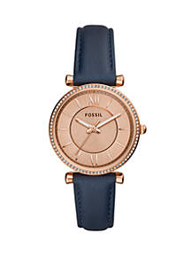 Carlie Three-Hand Navy Leather Watch