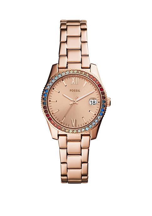 Fossil® Rose Gold-Tone Stainless Steel Scarlette Three-Hand