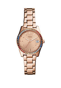Rose Gold-Tone Stainless Steel Scarlette Three-Hand Bracelet Strap Watch