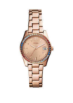 090b9fd6210 Fossil® Rose Gold-Tone Stainless Steel Scarlette Three-Hand Bracelet Strap  Watch ...