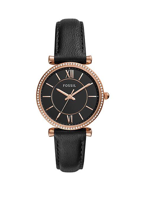 Carlie Three-Hand Black Leather Watch