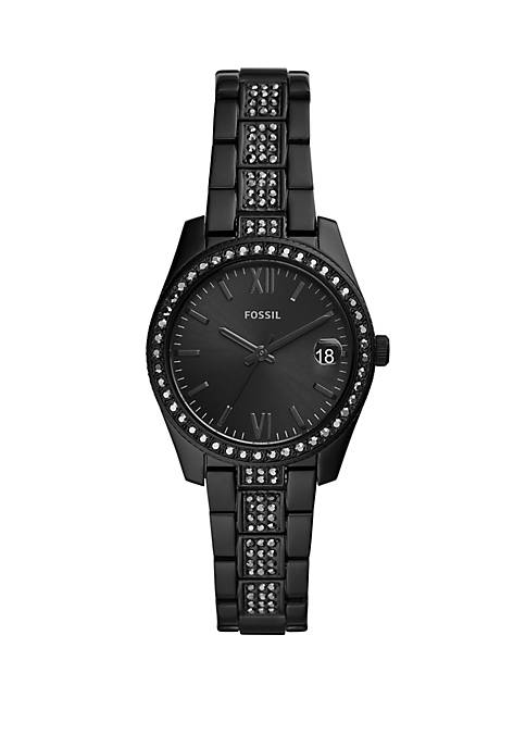 Fossil® Scarlette Three-Hand Date Black Stainless Steel Watch