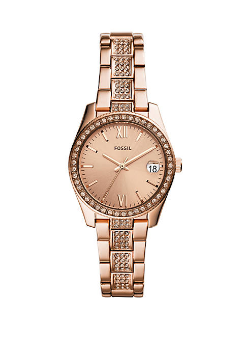 Fossil® Scarlette Three-Hand Date Rose Gold-Tone Stainless Steel