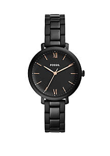 Fossil® Jacqueline Three Hand Black Stainless Steel Watch