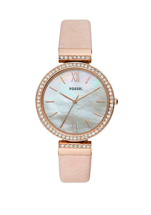 Rose Gold-Tone Stainless Steel Madeline Three-Hand Blush Leather Watch