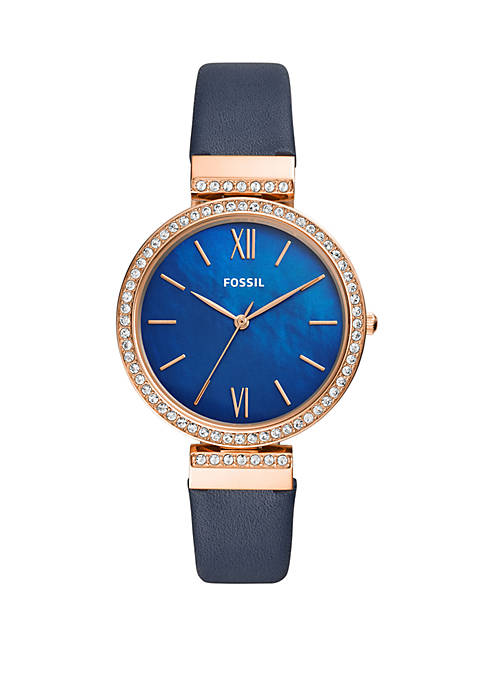 Fossil® Rose Gold-Tone Stainless Steel Madeline Three-Hand Navy