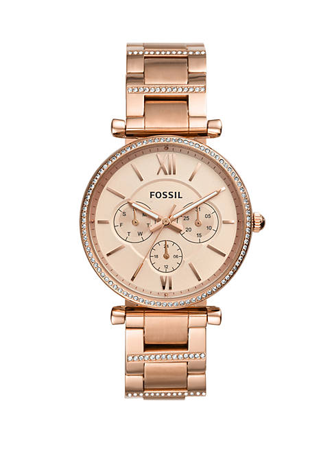 Fossil® Carlie Multifunction Rose Gold-Tone Stainless Steel Watch