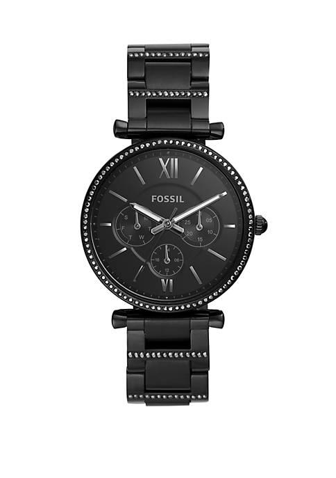 Carlie Multifunction Black Stainless Steel Watch