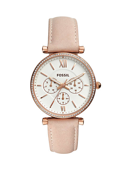 Fossil® Carlie Multifunction Rose Gold-Tone Leather Watch