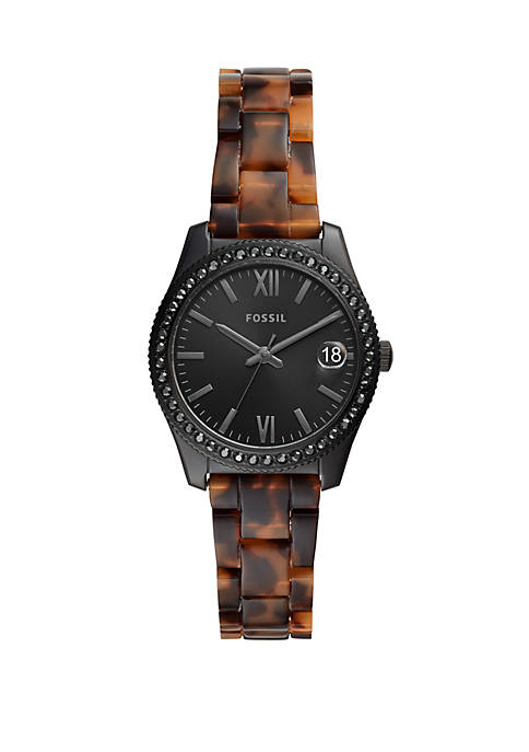 Fossil® Scarlette Mini Three-Hand Date Tortoise Acetate Watch