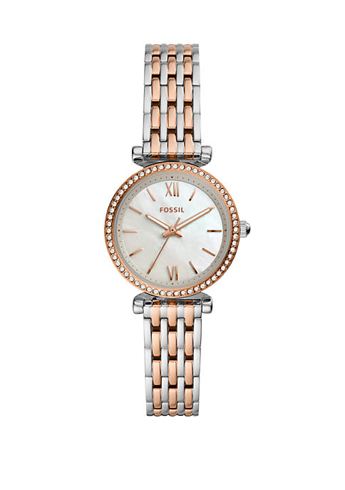 Fossil® Womens Carlie Mini Three-Hand Two-Tone Stainless Steel