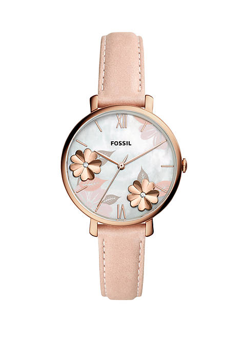 Fossil® Stainless Steel Jacqueline 3 Hand Leather Watch