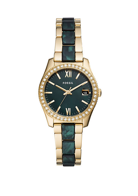 Womens Scarlette Mini Three-Hand Date Two-Tone Acetate and Stainless Steel Watch
