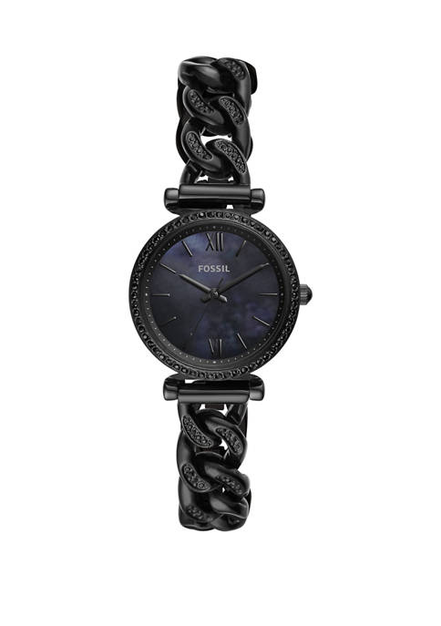 Fossil® Womens Carlie Mini Three Hand Black Stainless