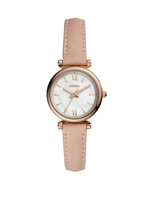Carlie Mini Three-Hand Blush Leather Watch