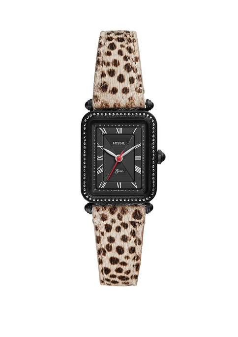 Womens 23 mm x 28 mm Lyric Three Hand Faux Cheetah Hair Leather Watch