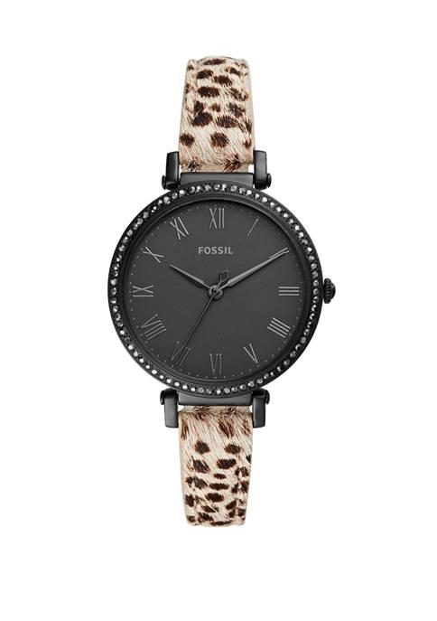 Womens 36 Millimeter Jacqueline Three Hand Faux Cheetah Hair Leather Watch