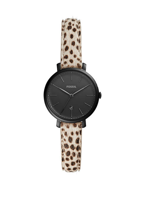 Womens 28 Millimeter Kinsey Three Hand Faux Cheetah Hair Leather Watch