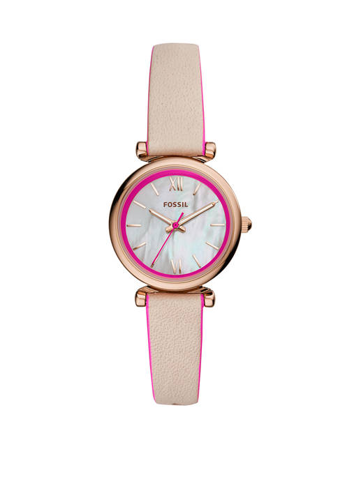 Carlie Beige Leather Watch