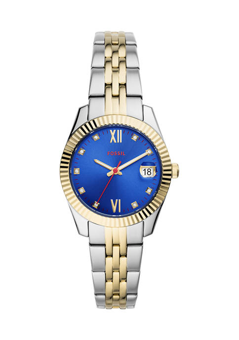 Fossil® Scarlette Mini Three-Hand Date Two-Tone Stainless Steel