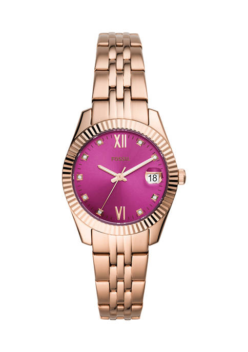 Fossil® Scarlette Mini Three-Hand Date Rose Gold-Tone Stainless