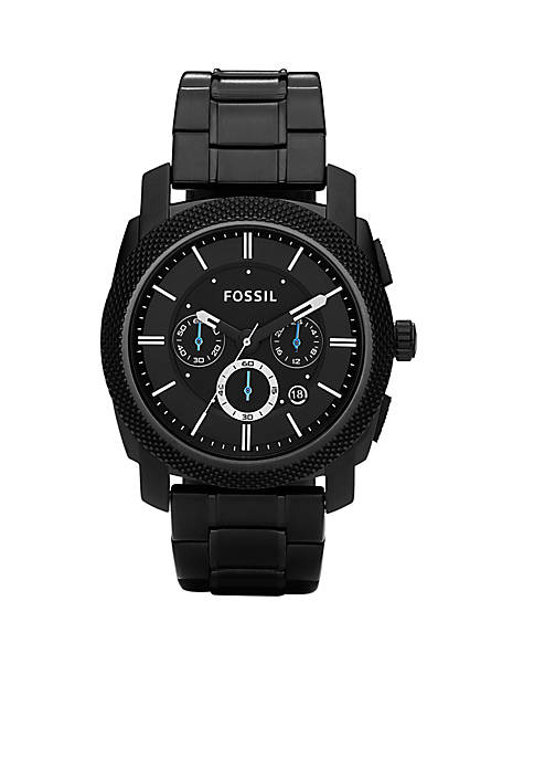 Fossil® Mens Black IP Bracelet The Machine Watch