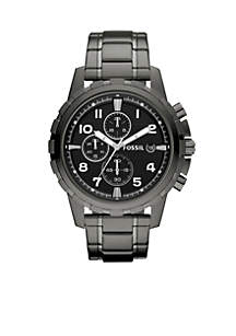 Mens Smoke Gray Stainless Steel Dean Chronograph Watch