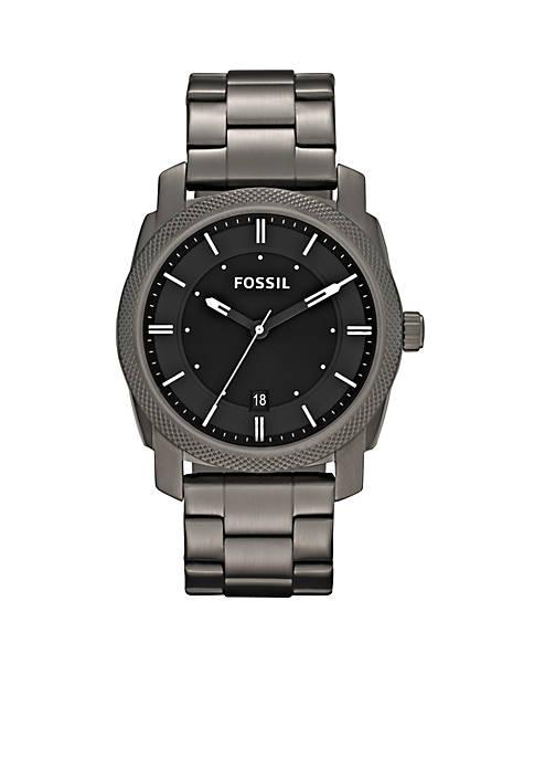 Fossil® Mens Smoke Stainless Steel Three Hand Machine