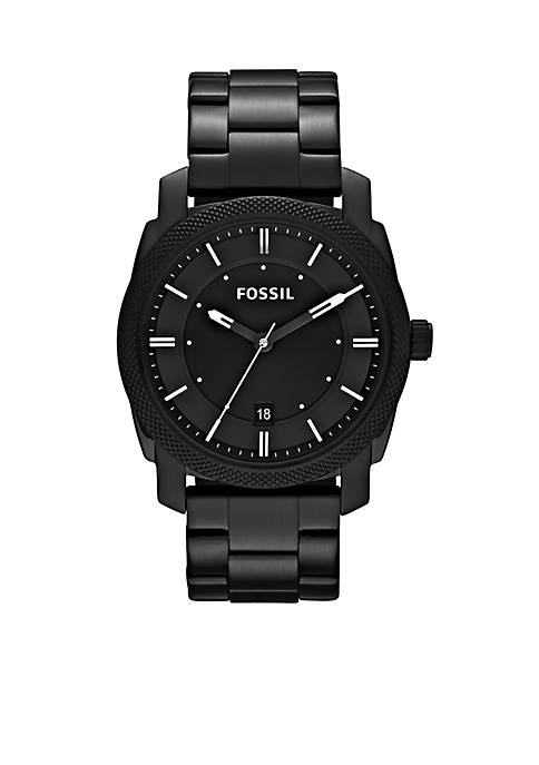 Fossil® Mens Black Stainless Steel Three Hand Machine