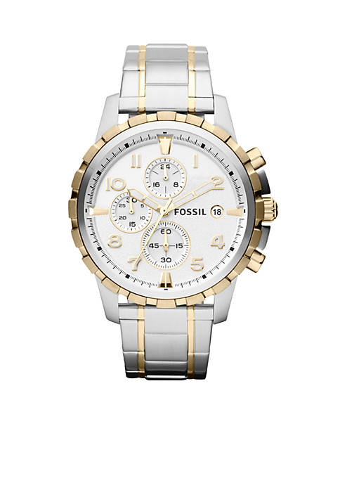 Fossil® Mens Silver-Tone and Gold-Tone Stainless Steel Dean