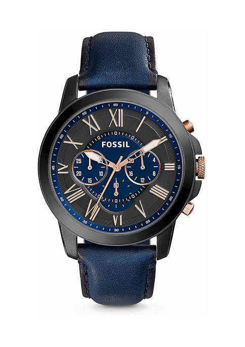 Fossil® Mens Grant Chronograph Navy Leather Watch