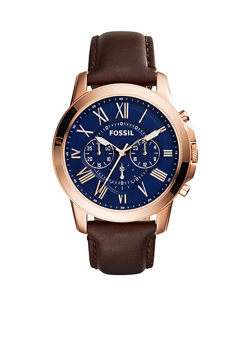 Fossil® Mens Grant Chronograph Brown Leather Watch