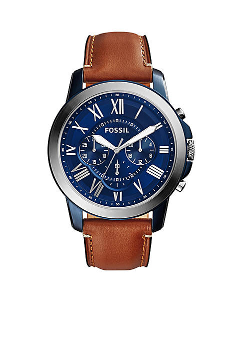 Fossil® Mens Grant Brown Leather Chronograph Watch