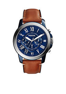 Fossil® Men's Grant Brown Leather Chronograph Watch