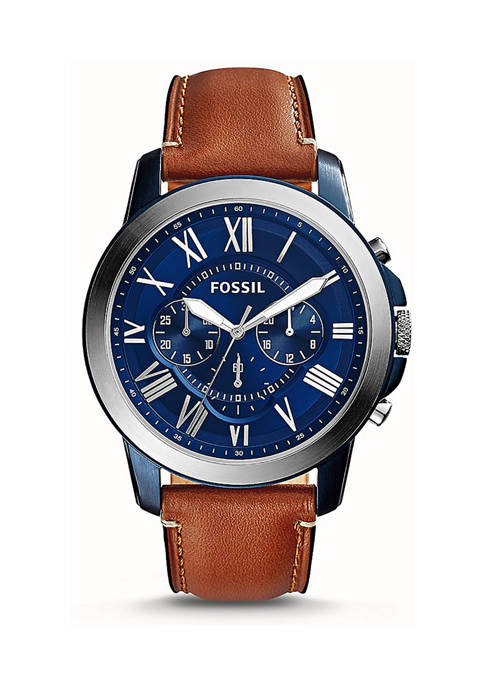 Fossil® Mens Grant Chronograph Light Brown Leather Watch