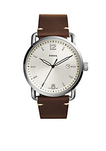 Men's Commuter Three-Hand Date Leather Watch
