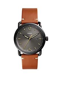 Men's Commuter Three-Hand Date Leather Watch