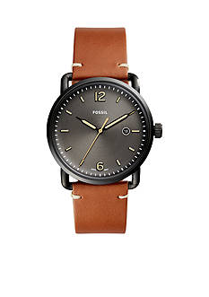 Fossil® Men's Commuter Three-Hand Date Leather Watch
