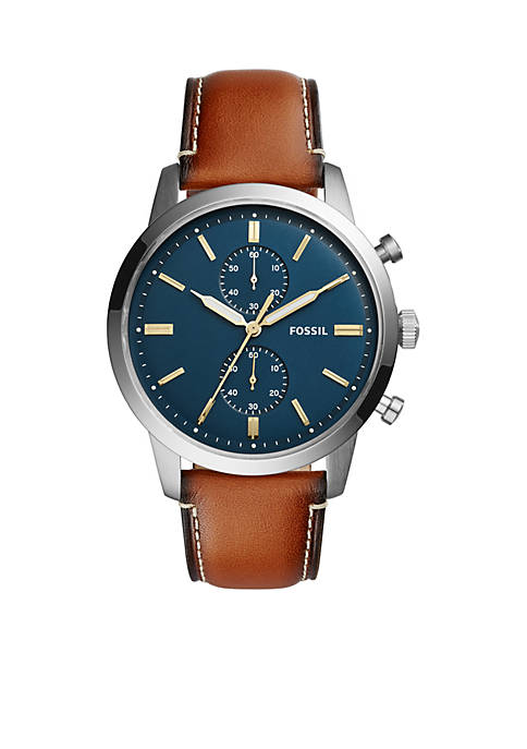 Fossil® Mens Townsman 44mm Chronograph Leather Watch