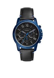 Men's Grant Sport Black Leather Chronograph Watch
