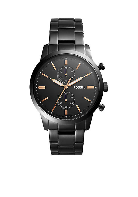 Fossil® Black Stainless Steel Townsman Chronograph Watch